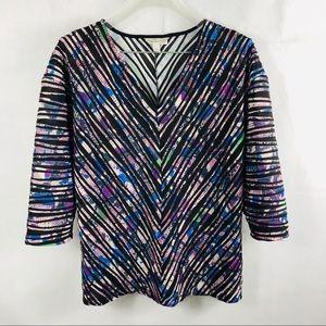Dana Bachman L pullover V-neck 3/4Sleev multicolor